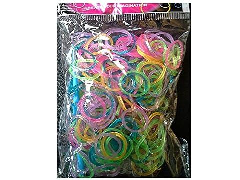 Crochet Loom - Lot de 300 élastiques silicone Glitter paillette