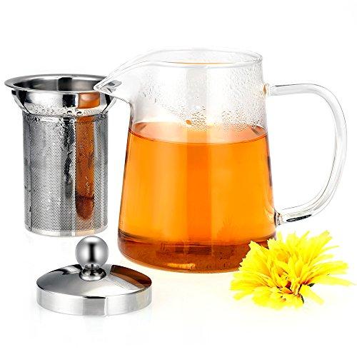 CookJoy Tetera de 800 ml tetera hecha de vidrio de borosilicato alemán y acero inoxidable 304 para el té de la fruta té de la flor té de hierbas transparente