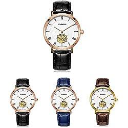 Starking Men Luxury Watches Casual Business Watch Men Wristwatch Genuine Leather Watchband Waterproof Wrist Watches Self-winding Automatic Mechanical Wristwatch Black /Coffee/Blue