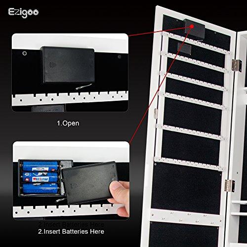Ezigoo Spiegel Schmuckschrank Beleuchtet mit Touchscreen LED Licht - Schmuckregal mit Ganzkörperspiegel - 7