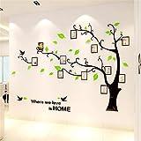 Guangmu Wandaufkleber mit Bilderrahmen 3D Wandtattoos Wandsticker Speicher Foto Acryl Baum Sticker für Hause Dekorationen Kunst (Hellgrün Links, L(230*164.3CM))