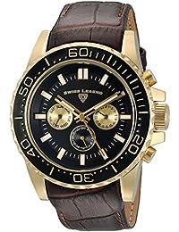 Swiss Legend Men 'de la conquista de cuarzo acero inoxidable y reloj automático de piel, color: marrón (modelo: 10707-yg-01-brw)