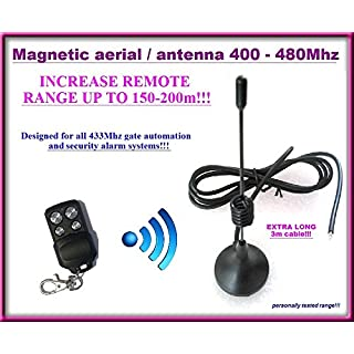 Magnetic Aerial / Antenna for gate automation and Alarm system remote controls 433Mhz with extra long 3m cable!!! Range: 150m-200m