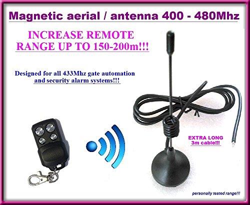 Base Antenne (Professionelle Antenne mit Magnetishe Mount Base externe empfangsantenne / aerial / antenna 433Mhz, 50 Ohm mit 3m Kabel, Torantrieb Garagentor. Bis zu 150-200 m Reichweite!)
