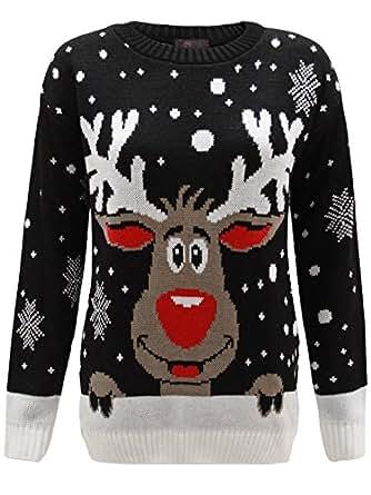 Envy Boutique - Sweat Unisexe Homme Femme Flocon de Neige Rodolphe Noël - Noir, S