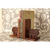 Craftbell Elephant HandCarved Bookend In Sheesham Wood - Book Organizer, Book Racks, Table Top, Book End Stand Holder, Bookshelf for Decorative / Office / Desk Accessories / Home Decor And Gift Item / Christmas Gift / New Year Gift / Birthday Gift