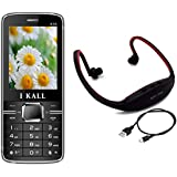 I KALL K35 Dual Sim Mobile With MP3/FM Player Neckband- Black