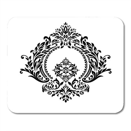 Deglogse Gaming-Mauspad-Matte, Crown Black Border Vintage Corner Baroque Scroll Calligraphic Curve Mouse Pad,Desktop Computers Mouse Mats, -