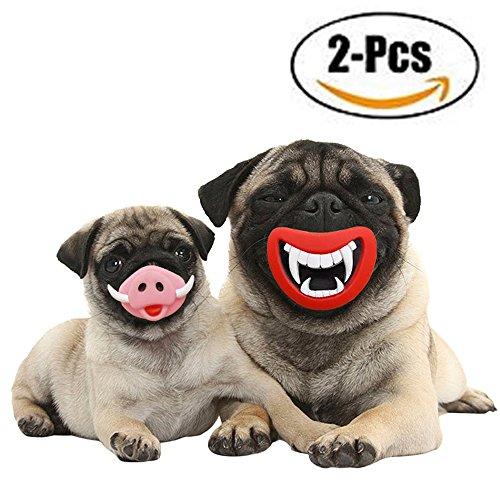 dog 2 Stück Hilarious Gummi Squeak Hund Spielzeug Set Red Lip Schwein Nase Neuheit Festival Hund Kostüm Geschenk (Schwein Hund Kostüme)