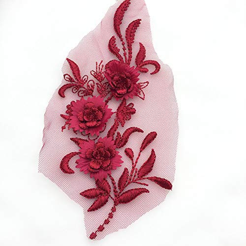 YUnnuopromi Fashion Lace Flower Stickerei Motiv Trim Nähen Applikation DIY Handwerk für Hochzeit Kleid Dekoration -