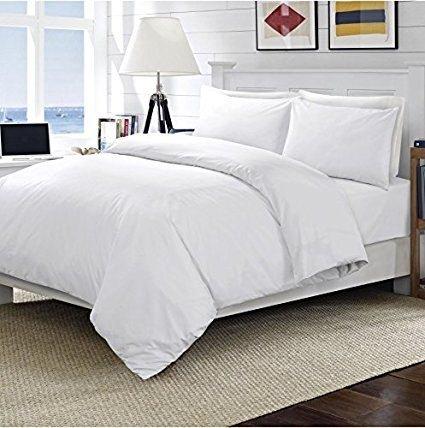Perkal-doppel-duvet-set (New Luxury 100% ägyptische Paket Hotel Qualität 200Fadenzahl Bettbezug-Set mit Kissen erhältlich in allen Größen und Farben, baumwolle, weiß, Einzelbett)