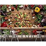 Pmhhc Fototapete Fast Food Pizza Gemüse Food 3D Tapete Wohnzimmer Küche Fast-Food-Shop Café Restaurant Ktv Bar Wandbilder-150X120Cm