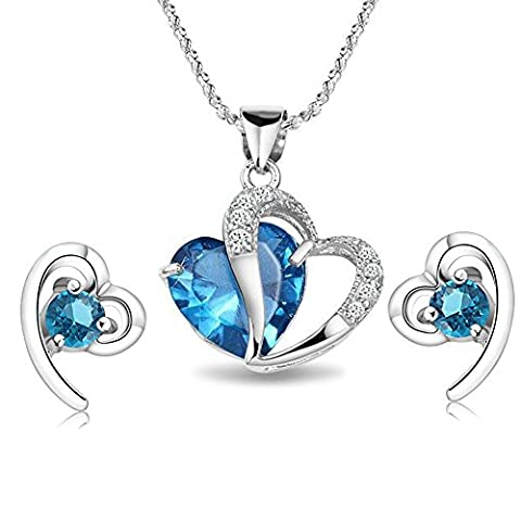 findout ladies Amethyst red pink blue white Crystal Heart Silver pendant Necklace + earring ,for women girls. (blue