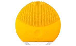 FOREO LUNA mini 2 Facial Cleansing Brush and Skin Care device made with Soft Silicone for Every Skin Type, Sunflower Yellow, USB Rechargeable