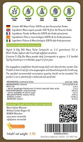 Bio Maca Pulver 1000g Original aus Peru, reines Maca Premium Qualität