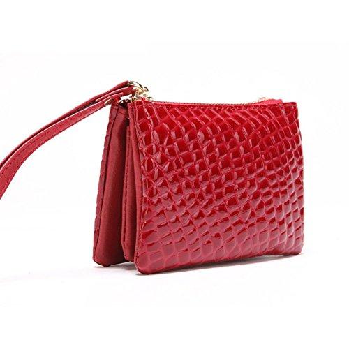 Pratico portafoglio breve signore nero modello di pietra/Pochette/ versatile borsa-A C