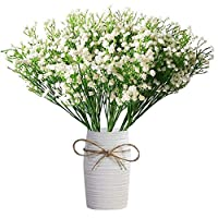 "Amkun 9pcs Artificial fake Flowers 21"" Gypsophila Baby Breath Bouquets Silica Gel for Wedding Home DIY Decor (White)"