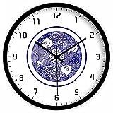 Piscis creativos culturales China reloj de pared/Relojes de pared silencioso de salón/Reloj-B 12pulgada