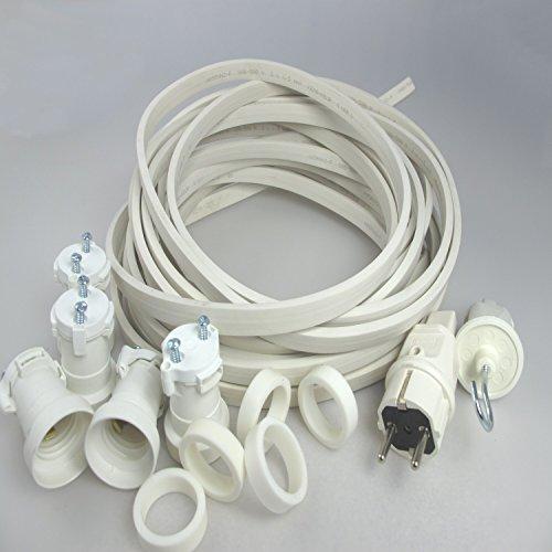 IKu ® Bausatz Illu Lichterkette 25 Meter 50 Fassungen - Stecker - Endstück - weisses Kabel