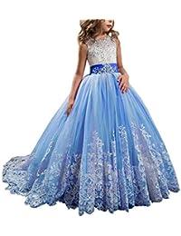 fa5b51ab1 Cvbndfe Suave Vestido de Novia de Encaje Infantil Tutu Vestido de Princesa  Cumpleaños de niña Vestido