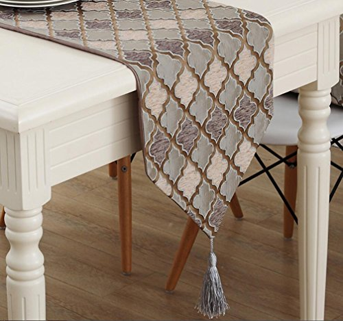 Preisvergleich Produktbild GL&G Europäische Stil Heimtextilien Tischläufer TV Schrank Abdeckung Tuch Schlafzimmer Geometrische Dreieck Bett Läufer,coffee,32*220CM