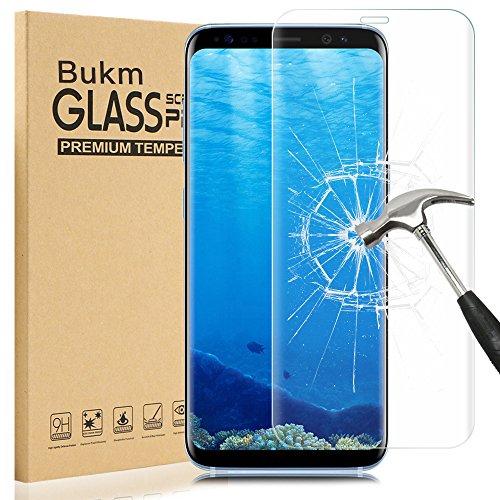 Samsung Galaxy S8 Protecteur d'écran, Bukm Galaxy S8 Protecteur d'écran en verre trempé de [9H Dureté] [Anti-empreinte digitale] [Sans bulle] Couvercle d'écran transparent pour Samsung Galaxy S8