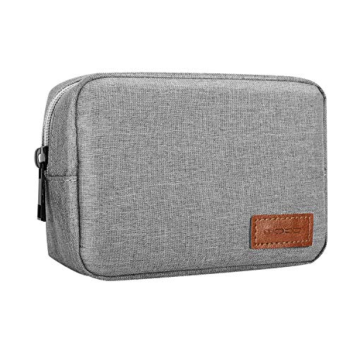"MoKo Electronics Accessories Case, 6.5"" Polyester Carrying Travel Electronics Accessories Organizer Universal Cable Management Hard Drive Bag for Power Cord, USB, Charger, AC Adapter - Gray"