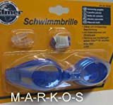 Antibeschlag Schwimmbrille im SET, mit Nasenklammer, Ohrenstöpsel, Taucherbrille / Schwimm Brille blau (LHS)