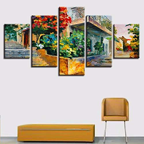 kunst Bilder Modulare 5 Stücke Jerusalem Garten Auf Den Steinen Malerei Druck Abstrakte Poster Home Picture Decor ()
