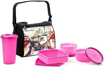 Signoraware Malgudi Plastic Lunch Box Set, 4-Pieces