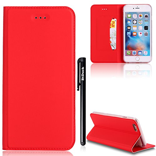 [4.7] Cover per iPhone 6,iPhone 6S Cover Rose Gold,BtDuck Ultra Slim Cover Portafoglio Stile Semplice Flip Magnetica Custodia Pelle per iPhone 6/iPhone 6S Morbido Silicone Back Cover Bookstyle Borsa Rosso