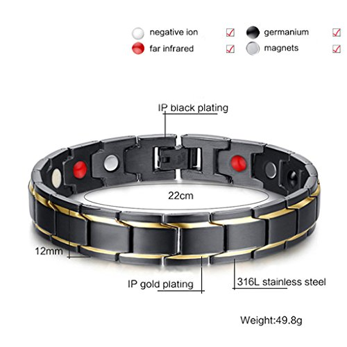 Jeracol Magnetic Bracelet Men with Health 4 Element Magnets Mens Magnetic Bracelets for Arthritis and Carpal Pain Relief…