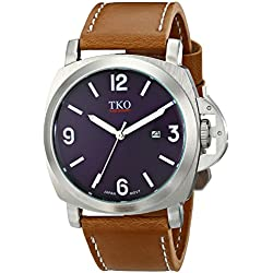 TKO Men's Silver Case Big Blue Face Military Aviator Brown Tan Leather Strap Watch TK654TN