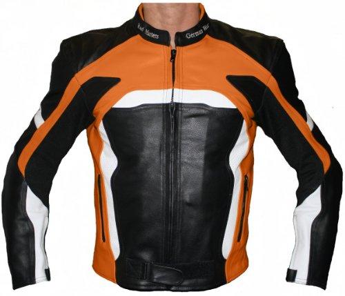 German Wear Veste de Moto en Cuir de Vachette Kombi, Noir/Orange/Blanc, 48