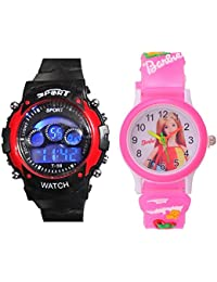 PRIMESHOP Digital Men & Women's Watch (Multicolour Dial Pink Colored Strap) (pack of 2)