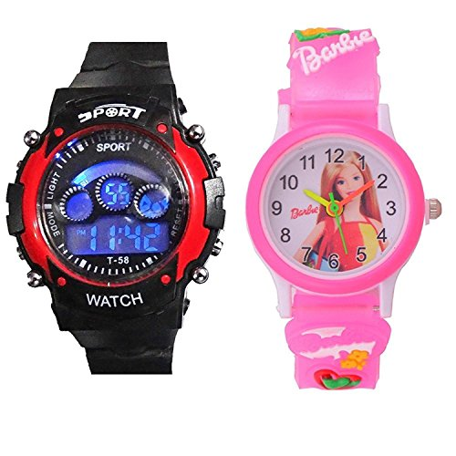 PRIMESHOP DIGITAL 7 LIGHT REDSPORTS+ PINK BARBIeee ANALOG COMBO WATCHES FOR BOYS AND GIRLS(KIDS WATCHES)