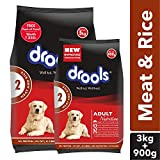 Drools Meat and Rice Adult Dry Dog Food, 3kg + 900 gm Free