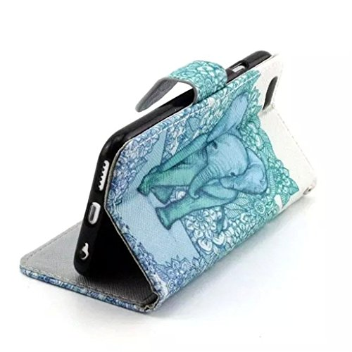 Gift_Source iPhone 6 hülle, iPhone 6S hülle, Brieftasche Ledertasche Bookstyle Schutzhülle Leder Flip case Etui for Apple iPhone 6S/6 4.7 inch [ Regenbogen ] E01-01-Elephant Damask