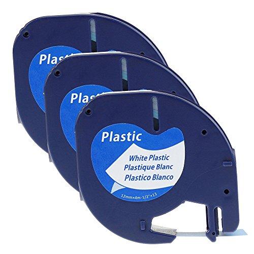 Preisvergleich Produktbild coLorty 3PK Etikettenband Kunststoff Selbstklebend Kompatibel zu Dymo LetraTag 91221 / S0721660 Schwarz auf Weiß 12mm x 4m (2 Jahre Garantie)