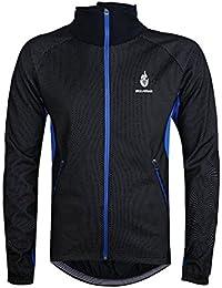 WOLFBIKE Hombres Lana Chaqueta termica Ciclismo A prueba de viento bici bicicleta Viento Capa Abrigo Camisa casual de manga larga impermeable M azul y negro