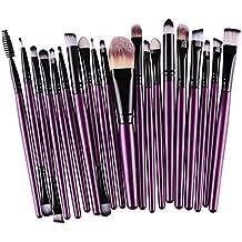 Ularma Moda 20pcs/set maquillaje cepillo conjunto herramientas maquillaje neceser Kit lana hacer arriba cepillo conjunto (púrpura)