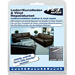 123REPAIR - effektives DIY Lederreparatur Set I Leder, Vinyl und Kunstleder Reparatur-Set 15 teilig mit 7 Farben