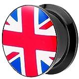 Piersando Piercing Ohr Plug Flesh Tunnel Fahne Motiv Fussball EM & WM Länderflagge Fanartikel Land Flagge Schmuck UK 8mm