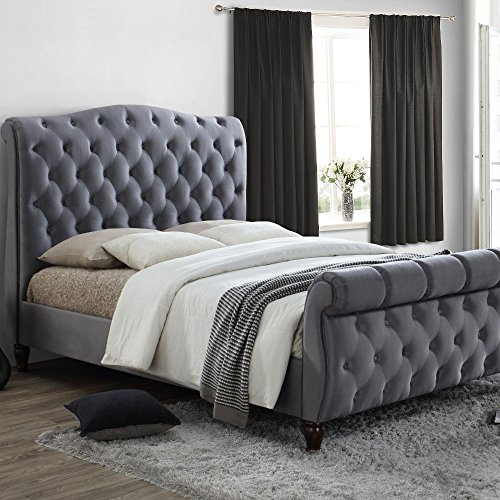 Grey Velvet Fabric Sleigh Bed, Happy Beds Colorado Grey Fabric Modern Bed - 5ft UK King (150 x 200 cm) Frame Only