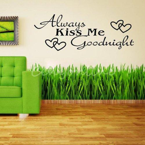 always-kiss-me-goodnight-phrase-amour-mots-decoration-mur-autocollant-sticker