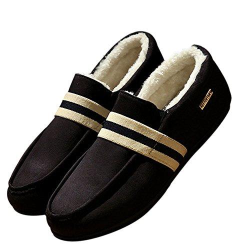 Deylaying New Hommes Hiver Pantoufles Mocassins Chaud Flat Chausson Doux Doublés de Fourrure Slippers Noir 2