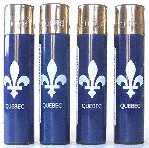 Clipper Encendedores Super rellenable azul Fleur De Lis Lis Quebec New Orleans Mardi Gras Fat Tuesday francés Lot de 4
