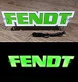 3D 12V LED Leuchtschild für FENDT Traktor Fahrer Grün Logo Schild Zubehör BELEUCHTUNG NUR VORWÄRTS - stört Sie nicht beim Fahren