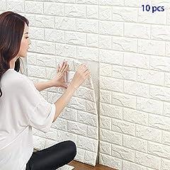 Idea Regalo - 3D Carta da Parati Mattoni Bianco, YTAT 3D Brick Stickers Wall, Stickers Cucina Wall, Stickers Muro 3d,Adesiva 3d Muro Di Mattoni PE Foam pannelli per Camera da Letto Soggiorno Moderno Sfondo TV Décor(10, bianco)