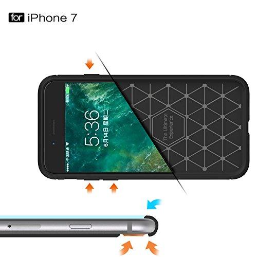 Coque iPhone 6s HICASER Carbon Fiber Grip résilient Anti-Slip Ultra Durable la Protection Drop Résistance Flexible TPU Armure Case pour iPhone 6 / 6s 4.7-pouce Gris Bleu marin